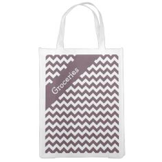 Eggplant Purple Chevron Grocery Bags .................This design features a Eggplant Purple Chevron pattern. The TEXT on both sides can be customized with your own. Check out my store for more colors.
