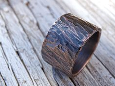 very wide mens ring copper cool mens ring mens by CrazyAssJD