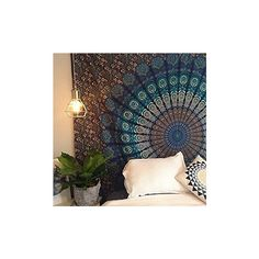 Montreal Tapessier Blue dorm blu hippie Tapestry , Bohomein... (£8.35) ❤ liked on Polyvore featuring home, home decor, wall art, hippy home decor, blue wall art, black home decor, hippie wall art and tapestry wall art