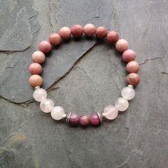 The Heart Chakra - Genuine Ruby, Rose Quartz & Rhodonite Sterling Silver Bracelet-- Positive Energy