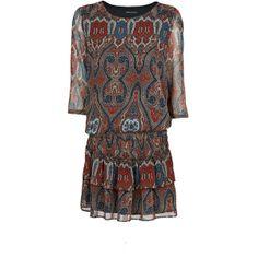 MANGO Scarf pint chiffon dress (1.405 RUB) found on Polyvore