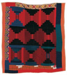"""""""Log Cabin""""—""""Courthouse Steps"""" variation quilt by Candis Pettway, 1972"""