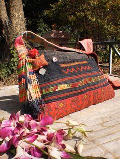 Tribal  Hmong Upcycled Textile Bag