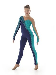 Aveline Dance Unitard with dramatic sparkly sequin fabric and monkey sleeves!
