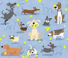 Love Love Dogs Love Tennis Balls fabric by bzbdesigner on Spoonflower - custom fabric