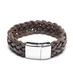 genuine coffee leather braided bracelet, 00476
