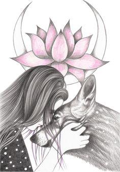 In Bloom Art Print by andreahrnjak Art Drawings Sketches Simple, Pencil Art Drawings, Animal Drawings, Cute Drawings, Wolf Girl Tattoos, Wolf Artwork, Wolf Wallpaper, Wolf Pictures, Beautiful Fantasy Art