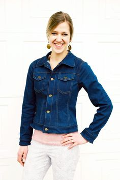Introducing the Kingston Jacket, a ladies' denim jacket pattern. This beautifully-finished, ladies jacket sewing pattern has 5 sleeve options. There are also optional side seam pockets and optional front pockets with flaps.
