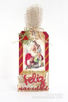 Vintage Tag Navideño - Latina Crafter Dies: feliz, Navidad Set de Sellos: Bordes de Costuras Stencil: Líneas Diagonales « Todo con Papel
