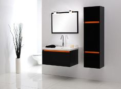 Szafka pod umywalkę czarno-pomarańczowa Forma Negro #bathroom #furniture #black #orange #washbasin