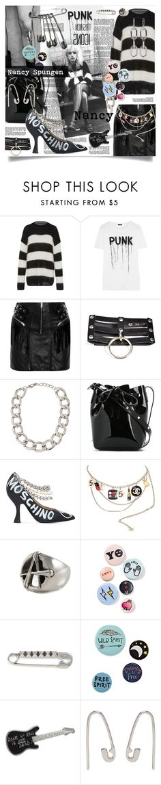 """Nancy"" by greengoblinz ❤ liked on Polyvore featuring R13, Yves Saint Laurent, Lydell NYC, Mansur Gavriel, Moschino, Karl Lagerfeld, Freddie Grove, Bing Bang, Marc Jacobs and agnès b."