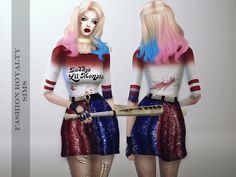 Harley Quinn dress for your sims ;)  Found in TSR Category 'Sims 4 Female Everyday'