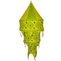 Indischer Lampenschirm grün - gelb 75 cm Baumwolle Dekolampe Orient Hängelampe