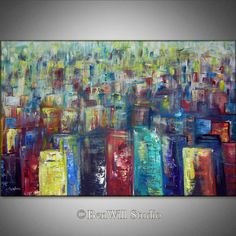 HUGE Abstract CITY Painting Modern Art COLORFUL Original  Contemporary Painting on Gallery Canvas, Ready to Hang 60x40 by BenWill