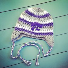 Crocheted K-State hat by Christa Keeler