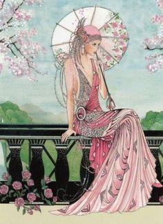 Great inspiration for Tattered Lace Art Deco ladies dies Images Vintage, Art Vintage, Vintage Posters, Vintage Ephemera, Pink Images, Vintage Hats, Art Deco Illustration, Illustrations, Pinturas Art Deco