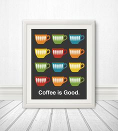 Coffee is Good Mid Century Art Coffee Print by BentonParkPrints, $16.00