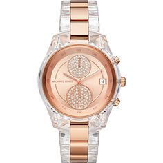 Michael Kors Briar Chronograph Watch - Rose Gold - Women's Watches (370 CAD) ❤ liked on Polyvore featuring jewelry, watches, metalic, chronograph watch, pink gold jewelry, chronos watch, rose gold jewelry and rose gold chronograph watch