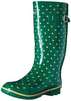 Wide Calf Rain Boots - Green with Cream Spots and Fleece Lining *** Click
