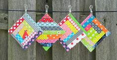 could also be made into quilt blocks for a baby quilt. s.o.t.a.k handmade: scrappy coasters {tutorial}
