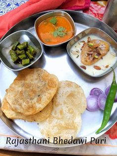 Rajasthani Bhedawi Puri aur Sabzi Thali features the bhedawi puri with an easy side dish.
