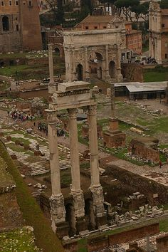 The Temple of the Dioscuri and the Arch of Septimius Severus in the Roman Forum from the Palatine