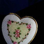 Rare Vintage Enamel Heart Shaped Compact by La Mode