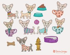 Teacup chihuahua clipart commercial use, cute puppy clip art, water bowl, bone, fire hydrant, hand drawn illustration, instant download  With this download, separate/individual image files are in PNG (transparent) format and JPG (white background) format. The dog in the teacup is about 6.2x8 inches. The main previews (with all images compiled) is for demonstration purposes only. Note: You are purchasing digital files only. Nothing will be mailed to you. The downloadable zip file contains...