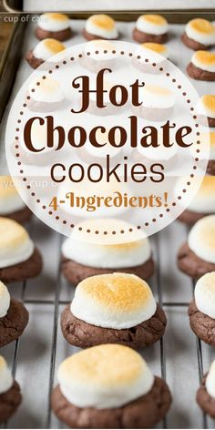 4 Ingredient Hot Chocolate Cookies (with Toasted Marshmallows) OBSESSED with these 4 Ingredient Hot Chocolate Cookies! The marshmallow gets all gooey and everyone begs for this recipe! My go-to cookie exchange recipe Hot Chocolate Mix, Chocolate Cake Mixes, Hot Chocolate Recipes, Chocolate Color, Chocolate Marshmallow Cookies, Cocoa Cookies, Cake Mix Recipes, Easy Cookie Recipes, Cookie Exchange