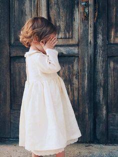 Linen Girl Dress Vintage Style Peter Pan Collar Crochet | Etsy | #affiliate