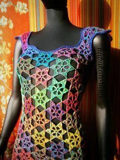Retro Technicolor Crochet Flowers Sweater   Flickr: Intercambio de fotos
