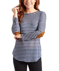 Look at this Casa Lee Blue Stripe Elbow Patch Tunic on #zulily today!
