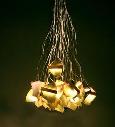"""Jumble"" Cherry veneer, bamboo, LED, paper, composition gold leaf, hardware, 40 in. high, 24 in. diameter, by Kenzan Tsutakawa-Chinn at ArtXchange Gallery"
