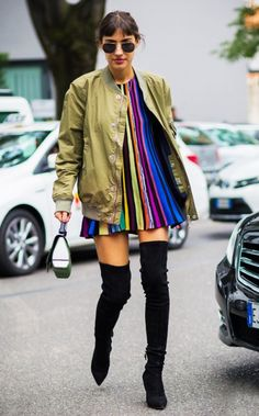 bomber jacket over this stripe dress and otk boots gives us life
