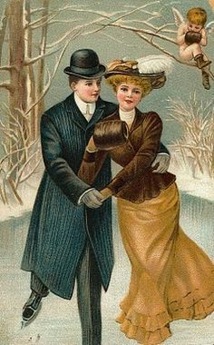 Victorian Postcard Couple Skating ~ Ephemera