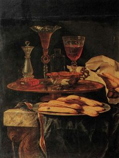 Christian  Berentz 1658-1722, and his still life with crystal and sponge cakes from1689.