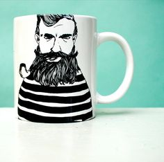perfect man on perfect MUG   illustrated  coffee by PolonaPolona, €14.00