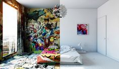 based designer Pavel Vetrov has created another room that seem to be photographed before and after decoration. This hybrid bedroom is in fact divided in two parts, one pure and minimalist, the other part painted and decorated.
