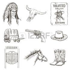 Sauvage icône de l'ouest, affiche de cow-boy recherché occidentale avec Injun, kofboy, cheval, cactus, chapeau, shérif, revolver, crâne, salon, van