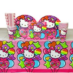Hello Kitty Party Pack for 16 Guests Straws Plates Napkins Cups and Table Cover Bundle for 16 ** More info could be found at the image url.Note:It is affiliate link to Amazon. #girl
