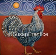 """""""Barred Plymouth Rock"""" oil on canvas"""