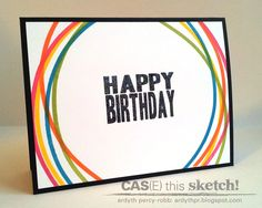 MASKerade: CTS8 - Happy Birthday! Use PTI Simple Stripes to make the colored lines. Awesome idea!