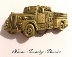 Vintage 1978 SOLID BRASS FIRE TRUCK BELT BUCKLE Cut Out Brass Baron   eBay