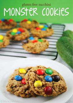 Gluten Free Zucchini Monster Cookies - sneak some green veges in their after school snack!