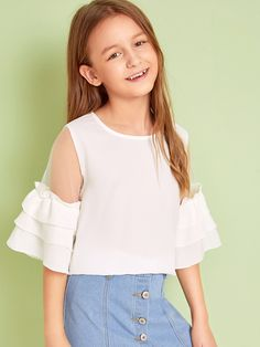 To find out about the Girls Mesh Insert Layered Bell Sleeve Top at SHEIN, part of our latest Girls Blouses ready to shop online today! Dresses Kids Girl, Kids Outfits Girls, Cute Girl Outfits, Cute Dresses, Girls Fashion Clothes, Tween Fashion, Teen Fashion Outfits, Casual Outfits, Kids Clothing