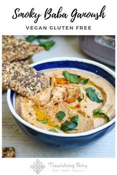 Creamy and smoky dip made with roasted aubergines, tahini, lemon and smoked paprika - perfect with flatbreads and other dips as part of a platter. Halal Recipes, Whole Food Recipes, Healthy Recipes, Aubergine Recipe, Baba Ganoush, Fresh Coriander, Savory Snacks, Smoked Paprika, Tahini