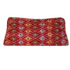 Handmade Hand embroidered Zardozi Clutch bag on red velvet with multi colored emroidery and stones
