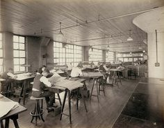 Drafting Room at Emerson Electric, ca. 1920s, via Flickr.
