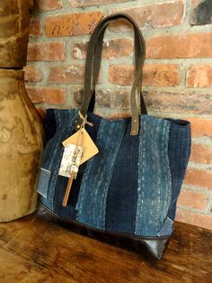 JAPANESE BORO TOTE Bag Purse Handwoven Indigo Dyed by TnBCdesigns
