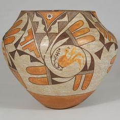 Acoma Pueblo Polychrome Jar with Birds in Volutes